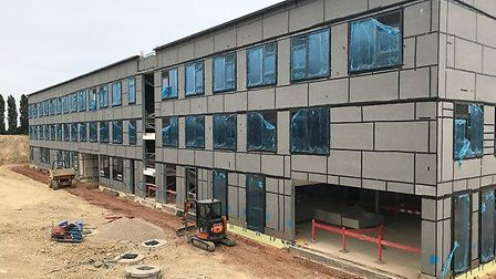 The new Stowmarket High School building takes shape ahead of opening in Easter 2020. Picture: STOWMA