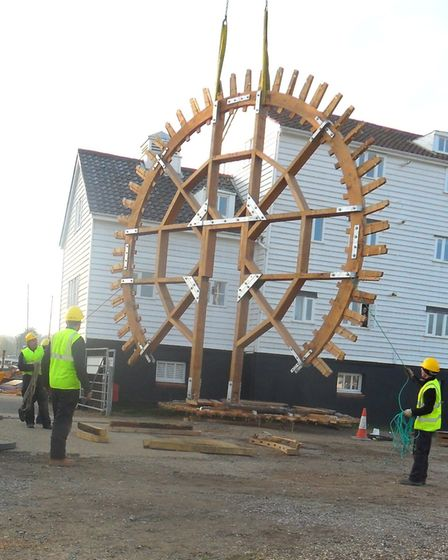 The new mill wheel being lifted into place Picture: TIDE MILL ARCHIVE