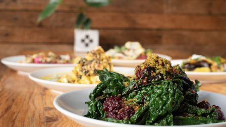 Charred greens & pickled blackberries Picture: SARAH LUCY BROWN