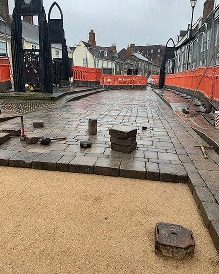 The first part of the Angel Hill roadworks in Bury St Edmunds have been completed. Picture: SUFFOLK
