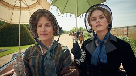 Tamsin Greig as Anne Trenchard and Alice Eve as Susan Trenchard in Belgravia. Picture: Carnival Film