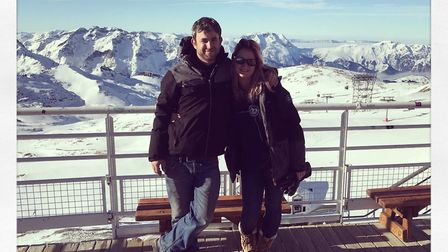 Hannah and her boyfriend Jon Tonkins in the Alps where she produced a festival and he was her build