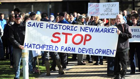 Public demonstration in 2015 against the Hatchfield Farm housing plans for Newmarket Picture: GREGG