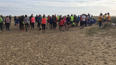 Runners and walkers congregate for the run briefing before the start of last Saturday's Great Yarmou