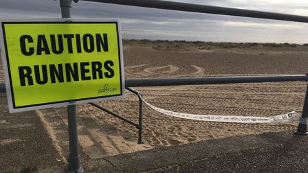 A good sign: all ready for the Great Yarmouth North Beach parkrun. Picture: CARL MARSTON