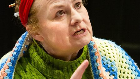 Sally Ann Burnett as Evgenia Ransome in rehearsal for Eastern Angles spring play Red Skies Photo: Mi