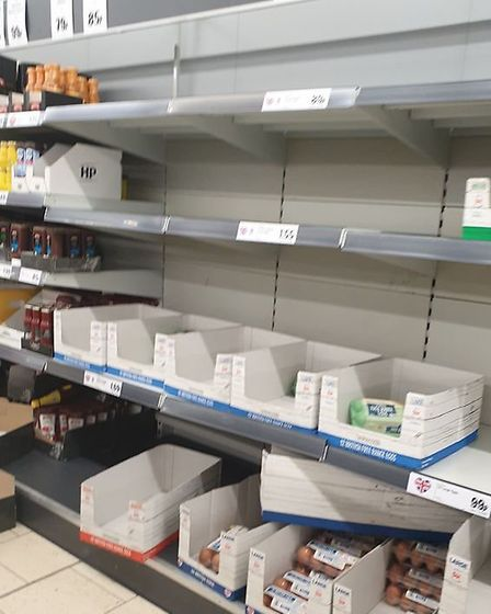 Depleted shelves in Lidl, London Road, Ipswich Picture: Marcia Simão