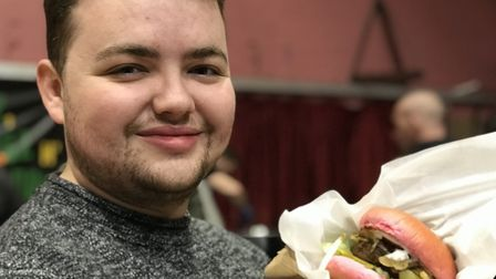 Jack Davis, 21 from Colchester could not wait to tuck into his 'Dirty Vegan Burger' at the Essex Veg