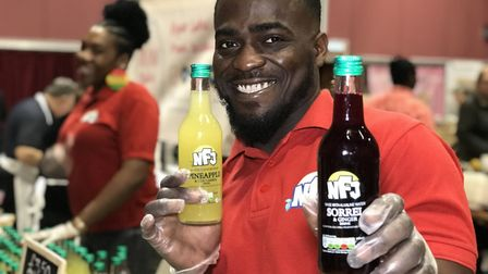 Jermaine and Adele Salmon from NFJ Juices at the Essex Vegan Festival. Picture: Neil Didsbury