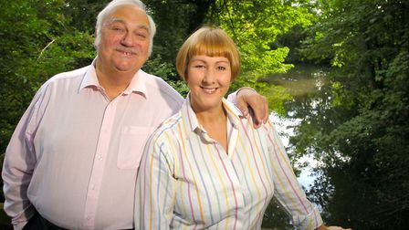 Roy Hudd and his wife Debbie at their Suffolk home Photo: Simon Parker