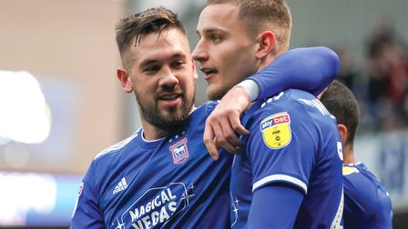 Luke Chambers and Luke Woolfenden pictured after Town had taken an early lead against Accrington.