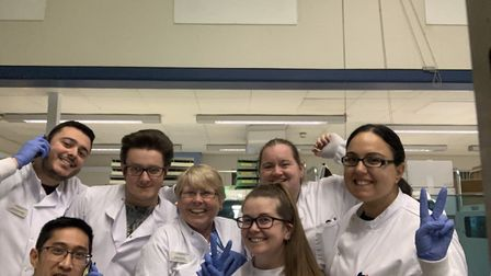 Pathology team members Daniel, Max, Jo, Holly, Dee, Leo and Sam Picture: HOLLY SAUNDERS