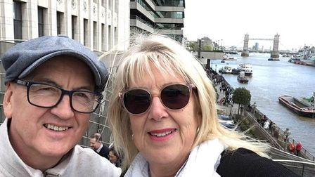 Steven Hancock, left, and partner Ann Williams from Sudbury have been left stranded in an Indian hos