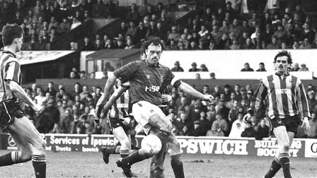 John Wark scored the only goal of the game as Town beat Bradford City at Portman Road in March 1990