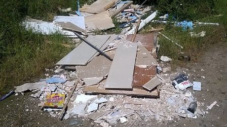 Waste found dumped in a lay-by between Fen Street and Coney Weston Picutre: WSC