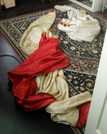 One of the priest's robes was taken out of the cupboard and thrown on the floor Picture: CLAIRE ROSE