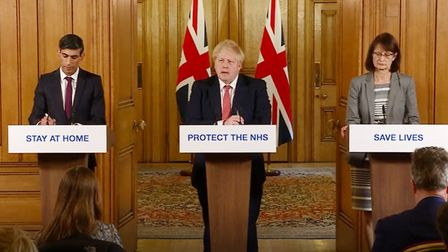 Prime Minister Boris Johnson, Chancellor Rishi Sunak and Dr Jenny Harries speaking at a media brief