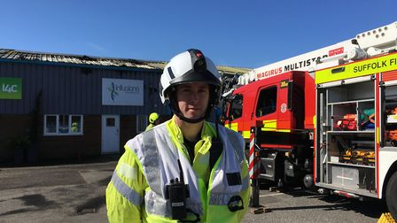 Station commander Henry Griffin at the scene of the Rougham industrial estate fire Picture: ARCHANT