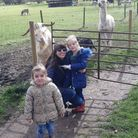 Reporter Mariam Ghaemi and her children Layla, four, and Jasmine, two, at Baylham House Rare Breeds