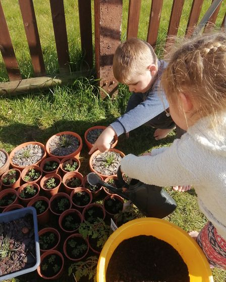 Clare Skinner's children have been enjoying the large garden Picture: CLARE SKINNER