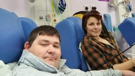 Clare Skinner with husband Doug during her first chemo session this year Picture: DOUG SKINNER