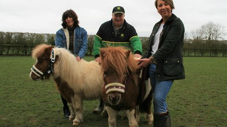 Tracey Cutting, left, Martin Knock and Nicky Cleaver with Paddington and Pepsi the Shetland ponies.