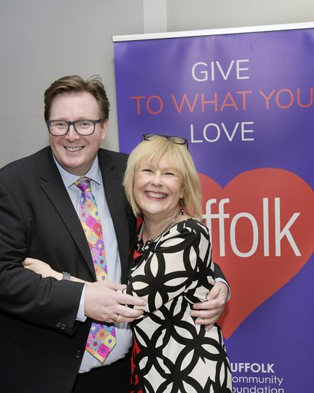 Tim Holder from the Suffolk Community Foundation and Radio Suffolk's Lesley Dolphin Picture: SUFFOLK