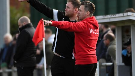 Chris Wigger, left, and former Norwich City favourite Darren Eadie - are now joint managers at Leist