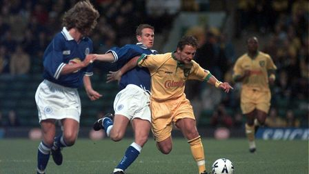 Darren Eadie in action for Norwich against Leicester. Photo: Keith Whitmore