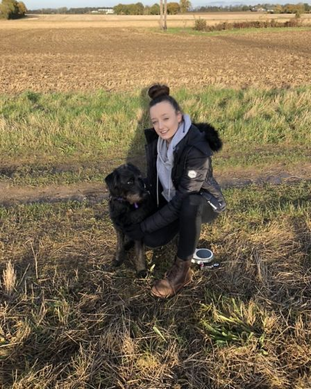 Lauren Emms is offering to walk people's dogs in Elmswell and Bury St Edmunds while they are in isol