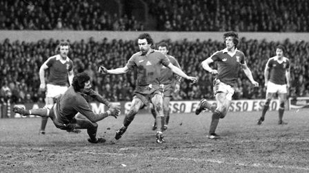 Paul Mariner nets as the Blues beat Hartlepool 4-1 in the FA Cup fourth round. Photo: ARCHANT