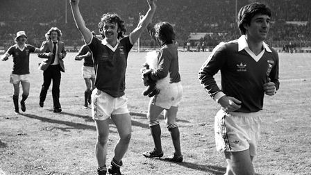 John Wark, left and Mick Lambert on the walk around Wembley after the final Photo: ARCHANT