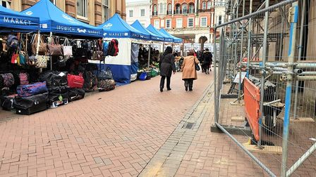Ipswich market is usually thriving but has now fallen quiet amid the coronavirus crisis. Picture: GE