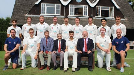 The Suffolk team that drew with Cambridgeshire in the Unicorns Championship at Ipswich School. Back