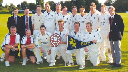 Norman Atkins, far right back row, with the Suffolk team that won the Eastern Division of the Minor