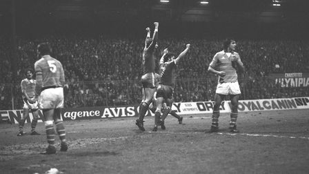 Terry Butcher and John Wark celebrate a Town goal in the UEFA Cup win at St Etienne.