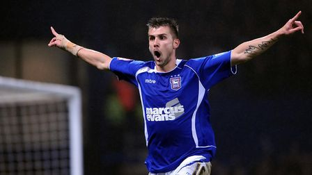 Tamas Priskin celebrates his winning goal against Arsenal in the League Cup semi-final, first leg at