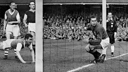 Ipswich Town beat Aston Villa 2-0 back in 1962 - the ball is on its way to the back of the net, than