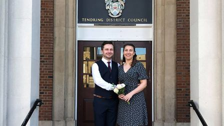 The happy couple wed in the face of challenges posed by the coronavirus Picture: MELISSA LEEK