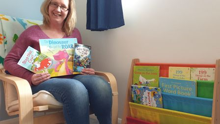 Christine Kirby owns Nanny Bookworm and is reading a book per day live on Facebook. Picture: CHRISTI
