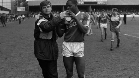 Dalian Atkinson receives the match ball after scoring a hat-trick against Middlesborough in April 19