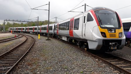 The first complete Aventra train for Greater Anglia being tested by Bombardier in Derby. Picture: GR