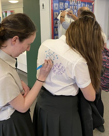 Year-11s at Ixworth School say farewell after its early closure due to the coronavirus outbreak. Pic