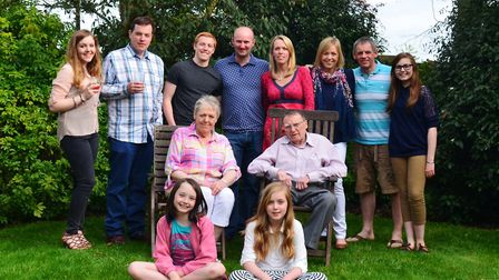 Jane Jay sat centre left, middle row, with the rest of her family. Her son Alex Jay is second from l