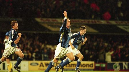 Jim Magilton celebrates one of his three goals in the famous 5-3 win over Bolton at Portman Road in