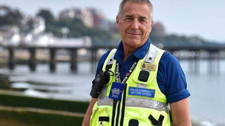 John Hood pictured in 2016 when, as a PCSO, he rescued four teenage girls from the sea at Felixstowe