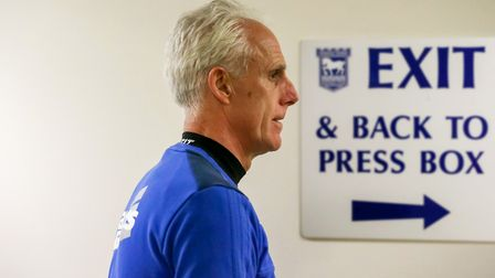 Mick McCarthy leaves the press room following his announcement that he was leaving Ipswich Town with