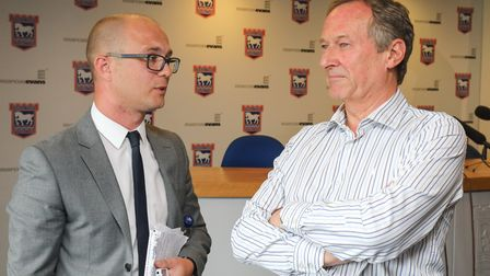 EADT chief football writer Stuart Watson talks with Ipswich Town managing director Ian Milne after
