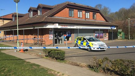 Police at the scene at Tesco Express in Lawson Place, Bury St Edmunds Picture: MICHAEL STEWARD