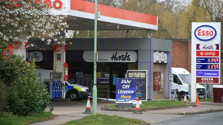 The Esso petrol station in Combs Ford was cordoned off after the incident. Picture: ARCHANT